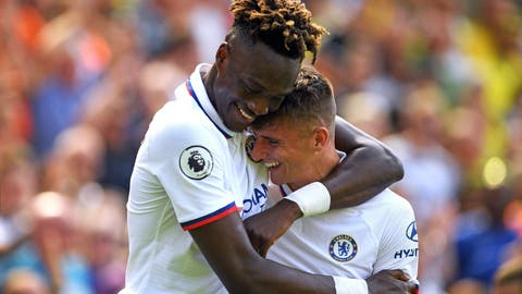 <p>               Chelsea's Mason Mount, right, celebrates scoring his side's second goal of the game with Tammy Abraham during the English Premier League soccer match between Norwich City and Chelsea at the Carrow Road Stadium, Norwich, England. Saturday, Aug, 24 2019. (Joe Giddens/PA via AP)             </p>