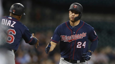 <p>               Minnesota Twins' C.J. Cron is greeted by third base coach Tony Diaz after a solo home run during the sixth inning of a baseball game against the Detroit Tigers, Saturday, Aug. 31, 2019, in Detroit. (AP Photo/Carlos Osorio)             </p>
