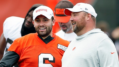 <p>               FILE - In this June 4, 2019, file photo, Cleveland Browns quarterback Baker Mayfield (6) talks with head coach Freddie Kitchens at the team's NFL football training facility in Berea, Ohio. Browns coach Freddie Kitchens says he doesn't care if controversial comments by brash quarterback Baker Mayfield put a target on his team. (AP Photo/Ron Schwane, File)             </p>