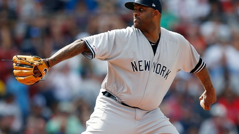 <p>               New York Yankees' CC Sabathia pitches during the first inning of a baseball game against the Boston Red Sox in Boston, Saturday, July 27, 2019. (AP Photo/Michael Dwyer)             </p>