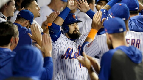 <p>               New York Mets' Luis Guillorme is greeted by teammates after hitting a home run during the eighth inning of a baseball game against the Washington Nationals, Saturday, Aug. 10, 2019, in New York. (AP Photo/Seth Wenig)             </p>