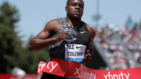 "<p>               FILE - In this June 30, 2019, file photo, United States' Christian Coleman wins the men's 100-meter race at the Prefontaine Classic IAAF Diamond League athletics meet in Stanford, Calif. Olympic gold-medal sprint contender Christian Coleman could be subject to an anti-doping sanction for missing drug tests, The Associated Press has learned. Two people familiar with Coleman's case told AP the sprinter faces a case involving three ""whereabouts failures"" over a 12-month period, which can be treated as a positive test. The people did not want their names used because cases are considered confidential. (AP Photo/Jeff Chiu, File)             </p>"