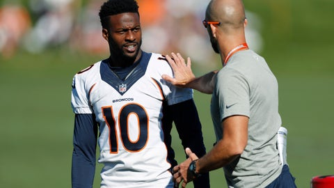 <p>               FILE - In this Tuesday, Aug. 6, 2019, file photograph, Denver Broncos wide receiver Emmanuel Sanders, (10) confers with wide receiver coach Zach Azzanni during an NFL football training camp session in Englewood, Colo. Emmanuel Sanders' comeback was more complex than most people realized. The Denver Broncos' 32-year-old receiver revealed this week that he had surgeries on both ankles in the offseason, one to repair his left Achilles tendon which he tore in practice last December and one on his right ankle a month later.(AP Photo/David Zalubowski, File)             </p>