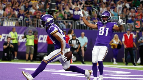 <p>               Minnesota Vikings tight end Irv Smith celebrates with teammate Bisi Johnson (81) after catching a 3-yard touchdown pass during the first half of an NFL preseason football game against the Seattle Seahawks, Sunday, Aug. 18, 2019, in Minneapolis. (AP Photo/Bruce Kluckhohn)             </p>