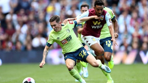 <p>               Aston Villa's Neil Taylor, right and Bournemouth's Harry Wilson battle for the ball, during the English Premier League soccer match at Villa Park, in Birmingham, England, Saturday, Aug. 17, 2019. (Tim Goode/PA via AP)             </p>