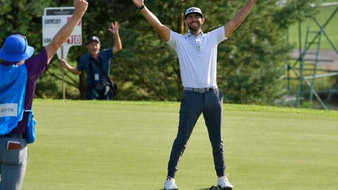 <p>               Erik van Rooyen of South Africa celebrates after winning the PGA European Tour golf tournament Scandinavian Invitation at Hills Golf & Sports Club in Molndal, Sweden, Sunday Aug. 25, 2019. (Anders Wiklund/TT via AP)             </p>