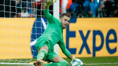 <p>               Liverpool's goalkeeper Adrian stops a penalty shot from Chelsea's Tammy Abraham during the UEFA Super Cup soccer match between Liverpool and Chelsea, in Besiktas Park, in Istanbul, Thursday, Aug. 15, 2019. Liverpool won 5-4 in a penalty shootout after the game ended tied 2-2. (AP Photo/Thanassis Stavrakis)             </p>