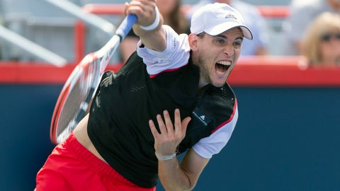 <p>               Dominic Thiem of Austria serves to Marin Cilic of Croatia during the Rogers Cup men's tennis tournament Thursday, Aug. 8, 2019, in Montreal. (Paul Chiasson/The Canadian Press via AP)             </p>