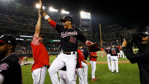 <p>               Washington Nationals' Juan Soto (22) jumps to celebrate with hitting coach Kevin Long after the team's baseball game against the Cincinnati Reds at Nationals Park, Tuesday, Aug. 13, 2019, in Washington. The Nationals won 3-1. (AP Photo/Alex Brandon)             </p>