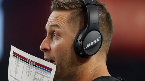 <p>               Arizona Cardinals head coach Kliff Kingsbury makes a call against the Oakland Raiders during the first half of an an NFL preseason football game, Thursday, Aug. 15, 2019, in Glendale, Ariz. (AP Photo/Ralph Freso)             </p>