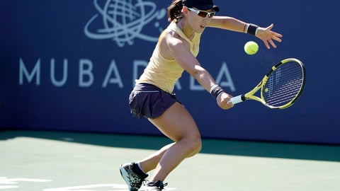 <p>               Zheng Saisai, of China, returns the ball to Aryna Sabalenka, of Belarus, during the finals of the Mubadala Silicon Valley Classic tennis tournament in San Jose, Calif., Sunday, Aug. 4, 2019. (AP Photo/Tony Avelar)             </p>