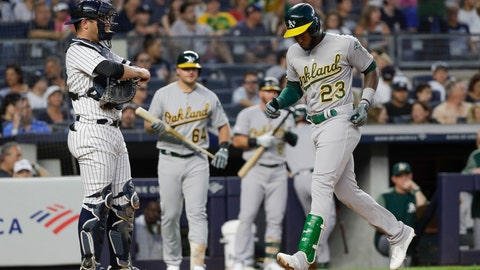<p>               Oakland Athletics' Jurickson Profar, right, runs past New York Yankees catcher Austin Romine to score on a home run during the second inning of a baseball game Friday, Aug. 30, 2019, in New York. (AP Photo/Frank Franklin II)             </p>
