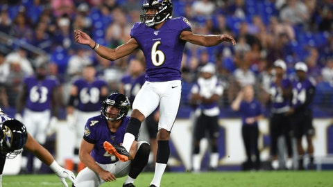 <p>               FILE - In this Aug. 8, 2019, file photo, Baltimore Ravens kicker Kaare Vedvik (6) boots a field goal against the Jacksonville Jaguars during the first half of an NFL football preseason game in Baltimore. Looking for solutions for their longtime kicking issues, the Minnesota Vikings traded for Vedvik from the Ravens on Sunday, Aug. 11, 2019. (AP Photo/Gail Burton, File)             </p>