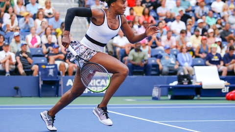 <p>               Venus Williams, of the United States, chases down a shot from Zheng Saisai, of China, during the first round of the US Open tennis tournament Monday, Aug. 26, 2019, in New York. (AP Photo/Eduardo Munoz Alvarez)             </p>