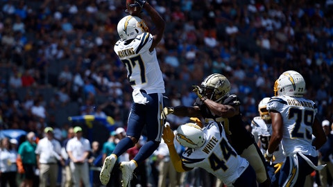 <p>               Los Angeles Chargers defensive back Jaylen Watkins (27) intercepts a pass during the first half of a preseason NFL football game against the New Orleans Saints, Sunday, Aug. 18, 2019, in Carson, Calif. (AP Photo/Kelvin Kuo)             </p>