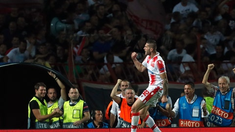 <p>               Red Star's Aleksa Vukanovic celebrates after scoring his side's opening goal during the Champions League play-off, second leg soccer match between Red Star and Young Boys on the stadium Rajko Mitic in Belgrade, Serbia, Tuesday, Aug. 27, 2019. (AP Photo/Darko Vojinovic)             </p>
