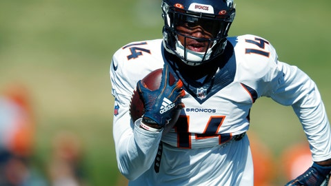 <p>               Denver Broncos wide receiver Courtland Sutton takes part in an NFL football training camp session Monday, Aug. 5, 2019, in Englewood, Colo. (AP Photo/David Zalubowski)             </p>