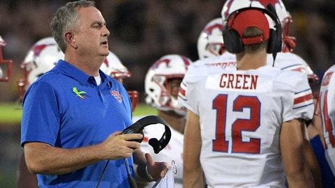 <p>               FILE - In this Saturday, Oct. 6, 2018 file photo, SMU head coach Sonny Dykes, left, talks to his players during a timeout in the first half of an NCAA college football game against Central Florida in Orlando, Fla. Best to expect the unexpected in the AAC. The league has been fertile ground for fast turnarounds since it rose from the ashes of the old Big East in 2013. SMU under second-year coach Sonny Dykes was in the thick of the West Division race last season until losing its last two. The Mustangs add former Texas quarterback Shane Buechele, among several transfers who could give SMU more staying power. (AP Photo/Phelan M. Ebenhack, File)             </p>