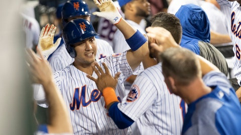 <p>               New York Mets' Michael Conforto (30) celebrates after hitting a home run during the sixth inning of a baseball game against the Cleveland Indians, Tuesday, Aug. 20, 2019, in New York. (AP Photo/Mary Altaffer)             </p>