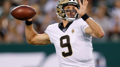 <p>               New Orleans Saints quarterback Drew Brees throws a pass during the first half of the team's preseason NFL football game against the New York Jets on Saturday, Aug. 24, 2019, in East Rutherford, N.J. (AP Photo/Adam Hunger)             </p>