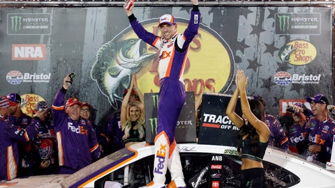 <p>               Denny Hamlin, center, celebrates after winning a NASCAR Cup Series auto race Saturday, Aug. 17, 2019, in Bristol, Tenn. (AP Photo/Wade Payne)             </p>