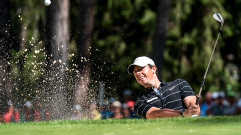 <p>               Rory McIlroy of Northern Ireland hits a bunker shot during the second round of the European Masters golf tournament in Crans-Montana, Switzerland, Friday, Aug. 30, 2019. (Alexandra Wey/Keystone via AP)             </p>