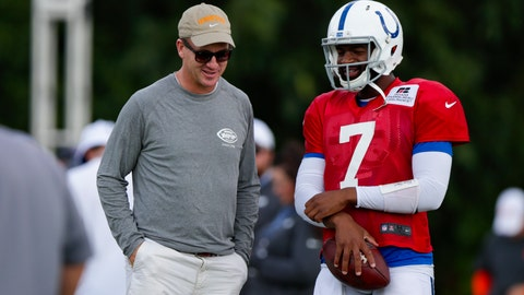 <p>               Indianapolis Colts quarterback Jacoby Brissett (7) talks with former Colts quarterback Peyton Manning during practice at the NFL team's football training camp in Westfield, Ind., Thursday, Aug. 15, 2019. The Colts held a joint practice with the Cleveland Browns. (AP Photo/Michael Conroy)             </p>