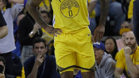 <p>               FILE - In this April 15, 2019, file photo, then-Golden State Warriors center DeMarcus Cousins reacts after injuring his leg during the first half of Game 2 of a first-round NBA basketball playoff series against the Los Angeles Clippers in Oakland, Calif. A person with knowledge of the situation says Los Angeles Lakers center DeMarcus Cousins is undergoing tests to confirm a preliminary diagnosis of a ligament tear in his knee. Cousins was injured in a workout in Las Vegas this week, according to the person who spoke on condition of anonymity to The Associated Press on Thursday, Aug. 15, 2019, because no official diagnosis has been released publicly. (AP Photo/Jeff Chiu, File)             </p>