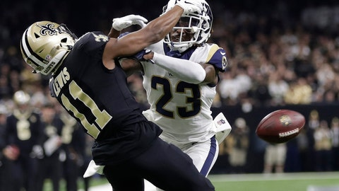 """<p>               FILE - In this Jan. 20, 2019, file photo, Los Angeles Rams' Nickell Robey-Coleman breaks up a pass intended for New Orleans Saints' Tommylee Lewis during the second half of the NFL football NFC championship game in New Orleans.  They were badly burned by the """"Nola no-call,"""" but the New Orleans Saints have joined the NFL in opposing a fan's lawsuit seeking damages over the missed penalty that helped the Los Angeles Rams beat the Saints in a January playoff game and move on to the Super Bowl.  (AP Photo/Gerald Herbert, File)             </p>"""