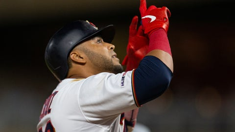 <p>               Minnesota Twins' Nelson Cruz celebrates after hitting a home run during sixth inning against the Atlanta Braves during a baseball game Tuesday, Aug. 6, 2019, in Minneapolis. (AP Photo/Andy Clayton- King)             </p>