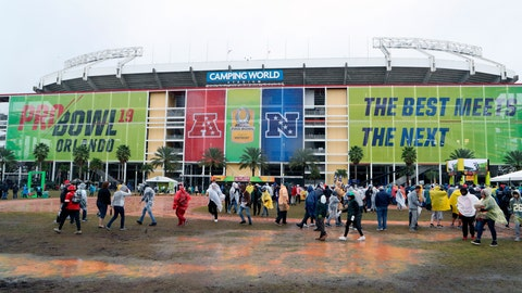 <p>               FILE - This Jan. 27, 2019, file photo shows a general view exterior of Camping World Stadium before the NFL Pro Bowl football game in Orlando, Fla. The Pro Bowl will return to Orlando for the fourth straight year and be held one week before the Super Bowl. The NFL's all-star game will be an afternoon match at 3 p.m. on Sunday, Jan. 26. (AP Photo/Gregory Payan, File)             </p>