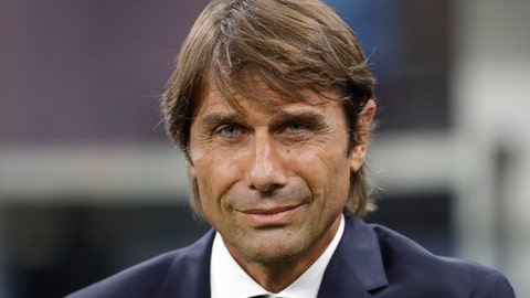 <p>               Inter Milan's head coach Antonio Conte smiles before the Serie A soccer match between Inter Milan and Lecce at the San Siro stadium, in Milan, Italy, Monday, Aug. 26, 2019. (AP Photo/Luca Bruno)             </p>