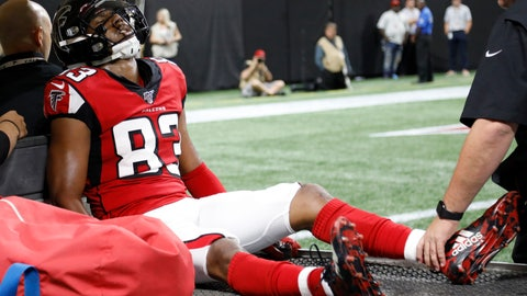 <p>               Atlanta Falcons wide receiver Russell Gage (83) is taken off the field after injury against the New York Jets during the first half an NFL preseason football game, Thursday, Aug. 15, 2019, in Atlanta. (AP Photo/Andrea Smith)             </p>