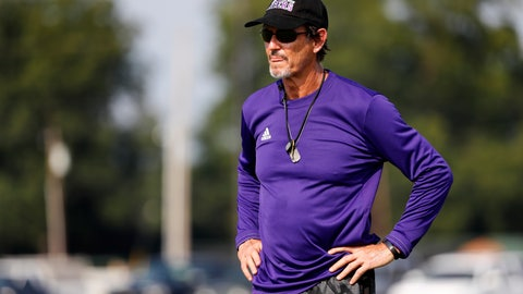 <p>               Coach Art Briles watches his team practice at Mount Vernon High School, Monday, Aug. 5, 2019, in Mount Vernon, Texas. Briles was back at his roots Monday, coaching a high school football team in Texas after a season in Italy and more than three years after the two-time Big 12 champion coach was fired by Baylor in the wake of a sexual assault scandal. (AP Photo/Tony Gutierrez)             </p>