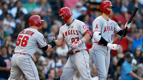 <p>               Los Angeles Angels' Mike Trout (27) celebrates his two-run home run that also drove in Kole Calhoun (56) as Shohei Ohtani comes to bat during the sixth inning of a baseball game against the Boston Red Sox in Boston, Saturday, Aug. 10, 2019. (AP Photo/Michael Dwyer)             </p>