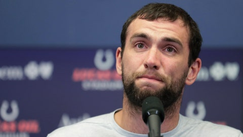 <p>               FILE - In this Saturday, Aug. 24, 2019, file photo, Indianapolis Colts quarterback Andrew Luck speaks during a news conference following the team's NFL preseason football game against the Chicago Bears, in Indianapolis. The Colts launch into the post-Luck era with his successor on the bench. Coach Frank Reich plans to sit Jacoby Brissett against the Bengals on Thursday night, the Colts' first game since Andrew Luck announced his retirement. Either Phillip Walker or Chad Kelly will start, competing for the No. 2 job. (AP Photo/Michael Conroy, File)             </p>