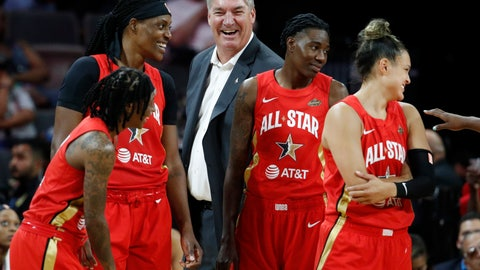 <p>               Team Wilson head coach Bill Laimbeer, center, laughs with his team during the second half of a WNBA All-Star basketball game against Team Delle Donne, Saturday, July 27, 2019, in Las Vegas. (AP Photo/John Locher)             </p>
