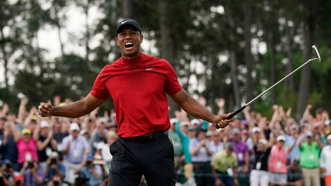 <p>               FILE - In this April 14, 2019, file photo, Tiger Woods reacts as he wins the Masters golf tournament in Augusta, Ga. Woods' appeal worldwide, particularly in Asia, remains stronger than ever after his 15th major title.(AP Photo/David J. Phillip, File)             </p>