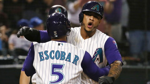 <p>               Arizona Diamondbacks' Eduardo Escobar (5) celebrates his three-run home run against the Los Angeles Dodgers with Ketel Marte during the sixth inning of a baseball game Thursday, Aug. 29, 2019, in Phoenix. (AP Photo/Ross D. Franklin)             </p>