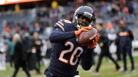 <p>               FILE - In this Jan. 6, 2019, file photo, Chicago Bears cornerback Prince Amukamara (20) warms up before an NFL wild-card playoff football game against the Philadelphia Eagles in Chicago. Few defenses lead the NFL in interceptions for consecutive years, but cornerback Prince Amukamara and other members of the Bears' secondary think they are primed to make a run at doing it after 27 last time out. (AP Photo/Nam Y. Huh, File)             </p>