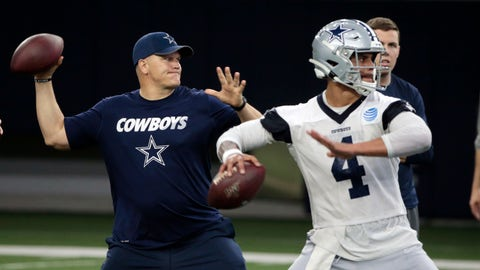 <p>               FILE - In this  Wednesday, May 22, 2019 file photo, Dallas Cowboys quarterbacks coach Jon Kitna throws the ball alongside Dak Prescott (4) during NFL football practice in Frisco, Texas. Jon Kitna is back in the NFL with one of the quarterback's former teams in the Dallas Cowboys after coaching high school football for seven years. Kitna's return has plenty to do with his strong relationship with coach Jason Garrett. (AP Photo/Michael Ainsworth, File)             </p>