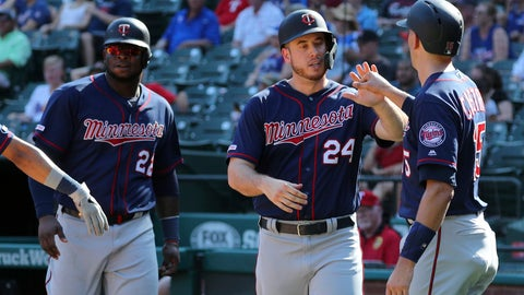 <p>               Minnesota Twins Miguel Sano (22), C.J. Cron (24) and Jason Castro (15) celebrate after scoring on a triple by Jorge Polanco in the eighth inning of a baseball game against the Texas Rangers, Sunday, Aug. 18, 2019, in Arlington, Texas. (AP Photo/Richard W. Rodriguez)             </p>