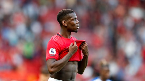 <p>               Manchester United's Paul Pogba leaves the pitch at the end of the English Premier League soccer match between Manchester United and Crystal Palace at Old Trafford in Manchester, England Saturday, Aug, 24, 2019. (AP Photo/Alastair Grant)             </p>