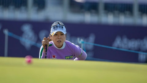 <p>               South Korea's Mi Jung Hur lines up her putt at the 14th hole during day two of the Ladies Golf Scottish Open at the Renaissance Club, in North Berwick, Britain, Friday, Aug. 9, 2019. (Kenny Smith/PA via AP)             </p>