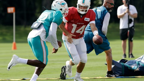 <p>               Miami Dolphins quarterback Ryan Fitzpatrick (14) hands off to running back Kenyan Drake (32) during an NFL football training camp practice with the Tampa Bay Buccaneers Tuesday, Aug. 13, 2019, in Tampa, Fla. (AP Photo/Chris O'Meara)             </p>