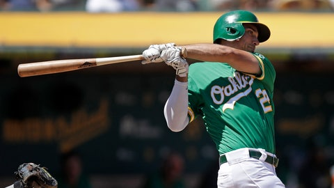 <p>               Oakland Athletics' Matt Olson swings for an RBI-single off Houston Astros' Rogelio Armenteros in the third inning of a baseball game Saturday, Aug. 17, 2019, in Oakland, Calif. (AP Photo/Ben Margot)             </p>