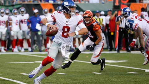 <p>               New York Giants quarterback Daniel Jones looks to pass on the run during the first half of the team's NFL preseason football game against the Cincinnati Bengals, Thursday, Aug. 22, 2019, in Cincinnati. (AP Photo/Frank Victores)             </p>