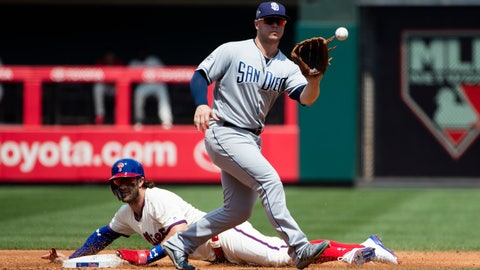 <p>               Philadelphia Phillies' Bryce Harper, bottom, advances to second base on a wild pitch ahead of the throw to San Diego Padres' Ty France during the second inning of a baseball game Sunday, Aug. 18, 2019, in Philadelphia. (AP Photo/Matt Rourke)             </p>