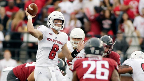 <p>               FILE - In this Sept. 15, 2018, file photo, Eastern Washington quarterback Gage Gubrud (8) throws a pass during the first half of an NCAA college football game against Washington State in Pullman, Wash. There's a good chance Washington State coach Mike Leach will once again turn the Cougars' Air Raid offense over to a graduate transfer quarterback.  The conventional wisdom is that former Eastern Washington quarterback Gage Gubrud is likely to succeed Gardner Minshew. (AP Photo/Young Kwak, File)             </p>