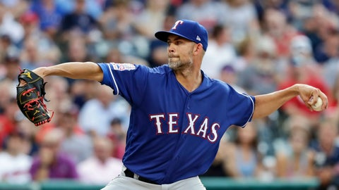 <p>               Texas Rangers starting pitcher Mike Minor delivers in the first inning of a baseball game against the Cleveland Indians, Monday, Aug. 5, 2019, in Cleveland. (AP Photo/Tony Dejak)             </p>